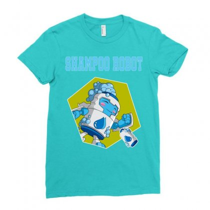 Shampoo Robot Ladies Fitted T-shirt Designed By Butterfly99