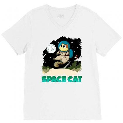 Space Cat V-neck Tee Designed By Butterfly99