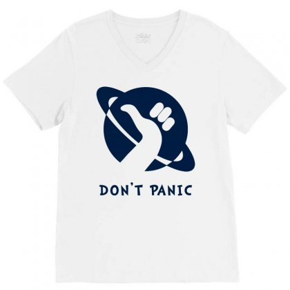 Space Dont Panic V-neck Tee Designed By Butterfly99