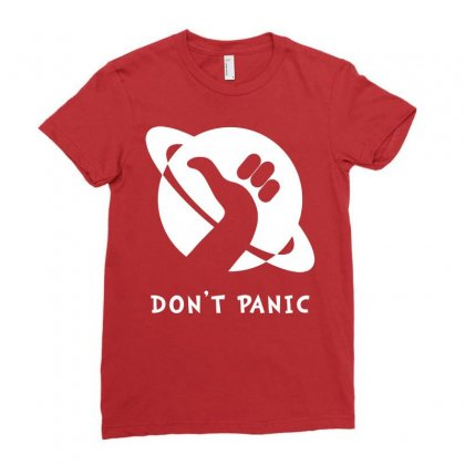 Space Dont Panic Ladies Fitted T-shirt Designed By Butterfly99