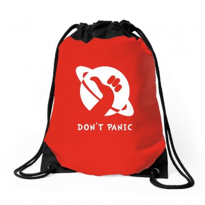 Space Dont Panic Drawstring Bags Designed By Butterfly99