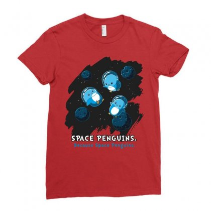 Space Penguins Ladies Fitted T-shirt Designed By Butterfly99