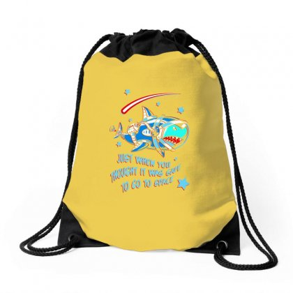 Space Shark Astronaut Drawstring Bags Designed By Butterfly99