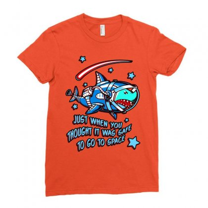 Space Shark Astronaut Ladies Fitted T-shirt Designed By Butterfly99