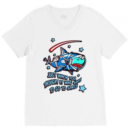 Space Shark Astronaut V-neck Tee Designed By Butterfly99
