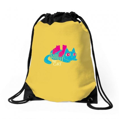 Squish That Cat Drawstring Bags Designed By Artwoman
