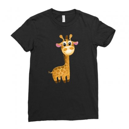 Cute Baby Giraffe Ladies Fitted T-shirt Designed By Arts Kingdom