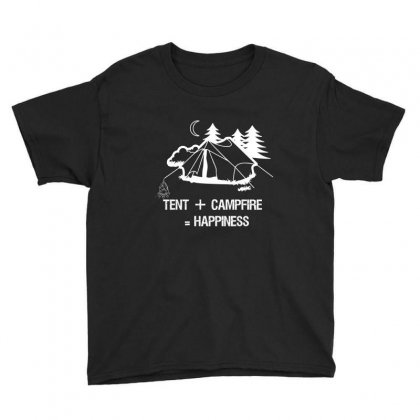Tent+campfire= Happiness Youth Tee Designed By Cuser2324