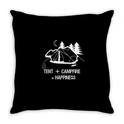 Tent+campfire= Happiness Throw Pillow Designed By Cuser2324
