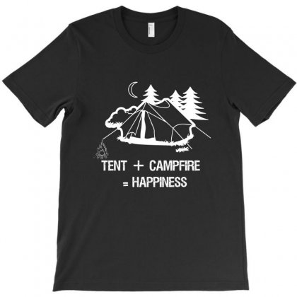 Tent+campfire= Happiness T-shirt Designed By Cuser2324