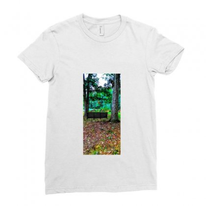 Old Swing On An Oak Tree Ladies Fitted T-shirt Designed By Unscathed