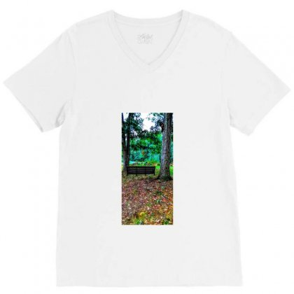 Old Swing On An Oak Tree V-neck Tee Designed By Unscathed