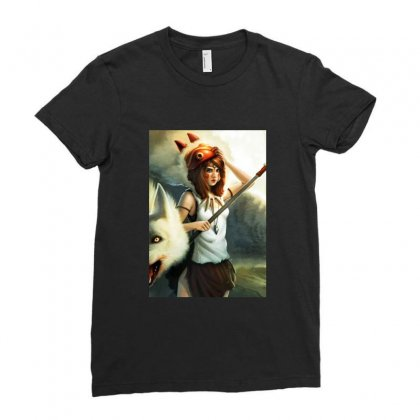 Mononoke Wolf Anime Ladies Fitted T-shirt Designed By Peri