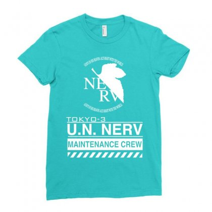Tokyo 3 Nerv White Ladies Fitted T-shirt Designed By Artwoman