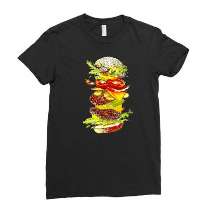 Flying Hamburger Ladies Fitted T-shirt Designed By Minttastic