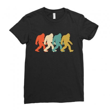 Bigfoot Silhouette Retro Ladies Fitted T-shirt Designed By Lawrensia