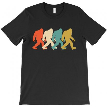 Bigfoot Silhouette Retro T-shirt Designed By Lawrensia
