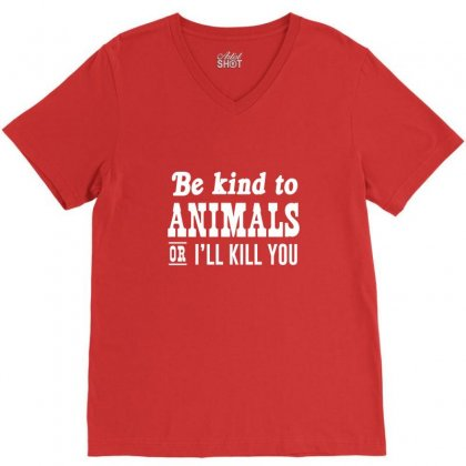 Be Kind To Animals V-neck Tee Designed By Krisshatta