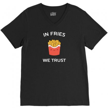 Love French Fries Food Humor V-neck Tee Designed By Arsyad