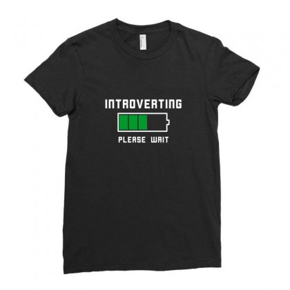 Low Battery Introvert Pun Humor Ladies Fitted T-shirt Designed By Arsyad