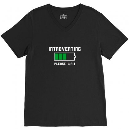 Low Battery Introvert Pun Humor V-neck Tee Designed By Arsyad