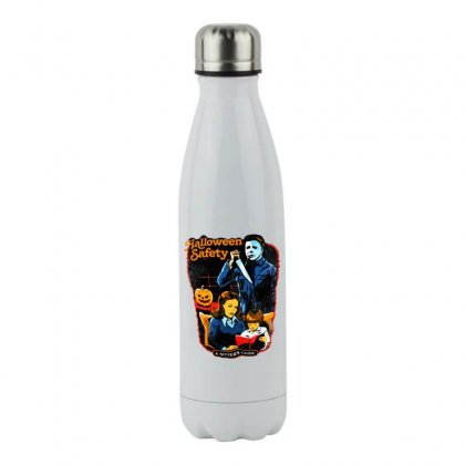 Halloween Safety A Sitter's Guide Stainless Steel Water Bottle Designed By Meganphoebe