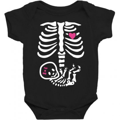 Baby Girl Skeleton Halloween Pregnancy   White Baby Bodysuit