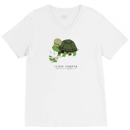 Slow Cooker Turtle V-neck Tee Designed By Arsyad