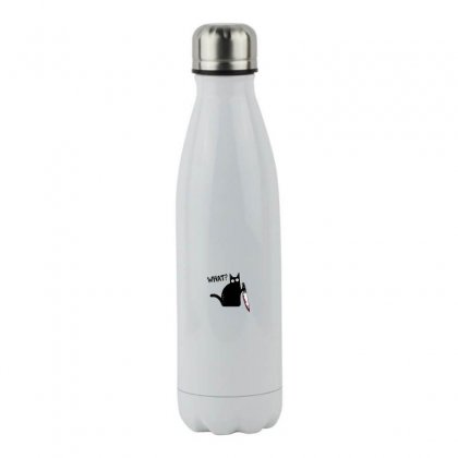 What Black Cat Holding Knife Halloween Stainless Steel Water Bottle Designed By Meganphoebe