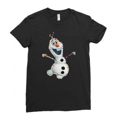 Olaf Christmas Light Ladies Fitted T-shirt Designed By Meganphoebe