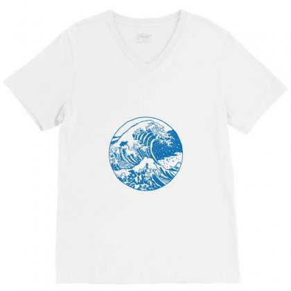 Great Wave V-neck Tee Designed By Tee Shop