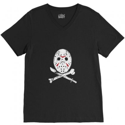 Hockey Mask V-neck Tee Designed By Tee Shop