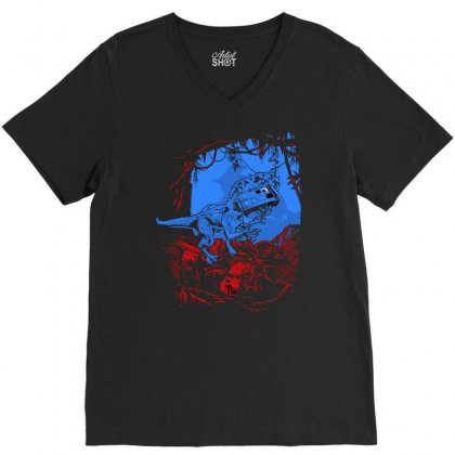 Indominus Rex And The Doctor New V-neck Tee Designed By Asep