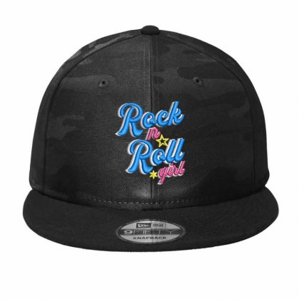 Rock N Roll Gırl Embroidered Camo Snapback Designed By Madhatter