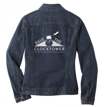Save The Clock Tower Merch Ladies Denim Jacket Designed By Oktaviany