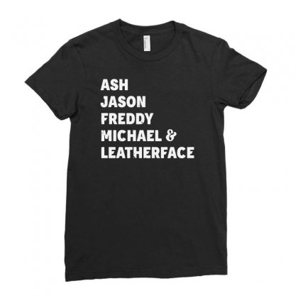 80s Horror Legends Ash Jason Freddy Michael Leatherface Halloween Ladies Fitted T-shirt Designed By Tillyjemima Art