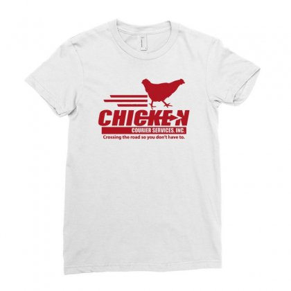Chicken Courier Services Ladies Fitted T-shirt Designed By Achreart
