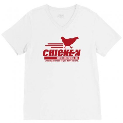 Chicken Courier Services V-neck Tee Designed By Achreart