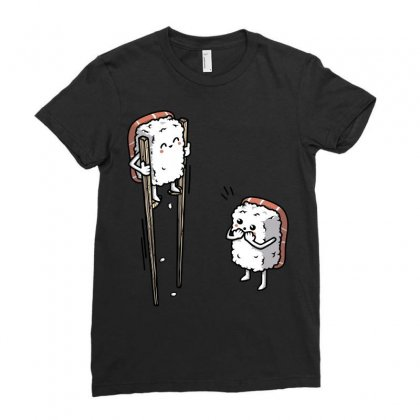 Sushi In Chopsticks Ladies Fitted T-shirt Designed By B4en1