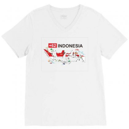 Indonesia +62 V-neck Tee Designed By Colle-q