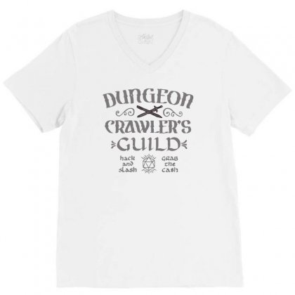 Dungeon Crawler's Guild V-neck Tee Designed By Achreart