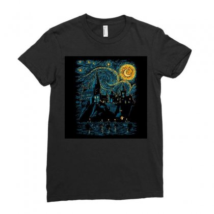 Castle Starry Night Van Gogh Parody Ladies Fitted T-shirt Designed By Salmanaz
