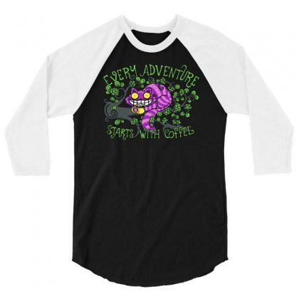 Every Adventure Starts With Coffee 3/4 Sleeve Shirt Designed By Achreart