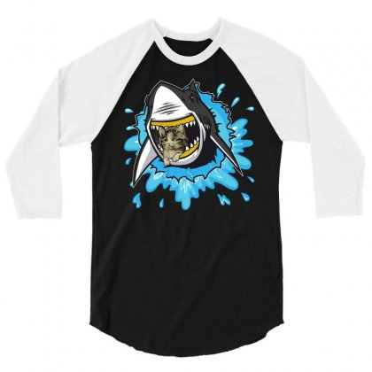 Shark And Cat 3/4 Sleeve Shirt Designed By Omer Acar
