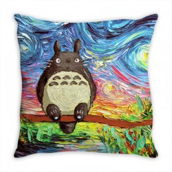 totoro starry night art van gogh parody Throw Pillow | Artistshot