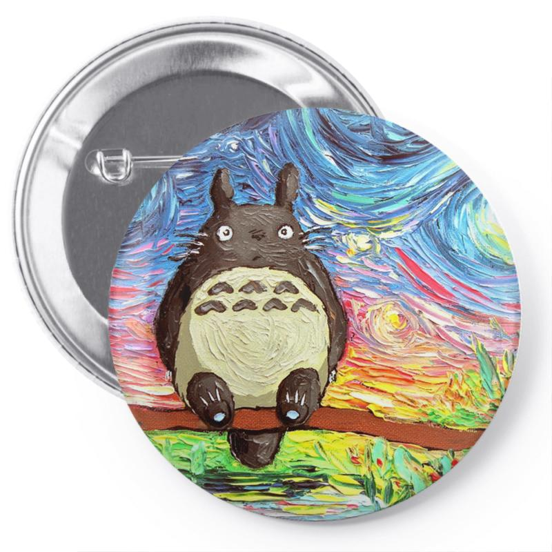 Totoro Starry Night Art Van Gogh Parody Pin-back Button | Artistshot