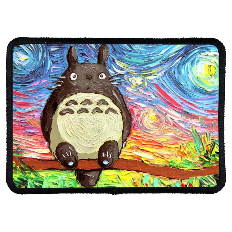 Totoro Starry Night Art Van Gogh Parody Rectangle Patch | Artistshot