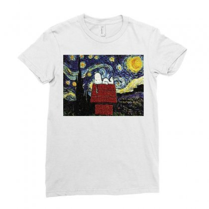 Snoopy Van Gogh Ladies Fitted T-shirt Designed By Salmanaz