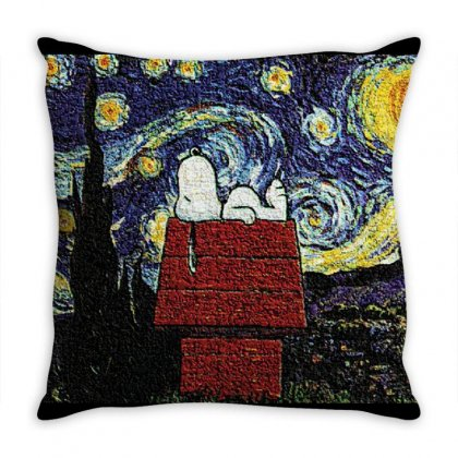 Snoopy Van Gogh Throw Pillow Designed By Salmanaz
