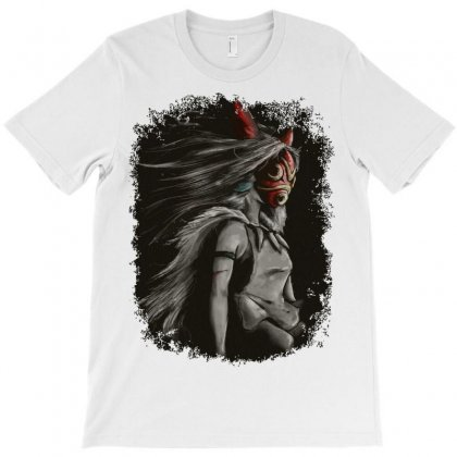 Mononoke Wolf Anime Tra Digital Painting Fitted T-shirt Designed By Blackheart